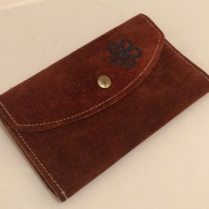 Vintage Raw Soft Brown Suede Leather Wallet